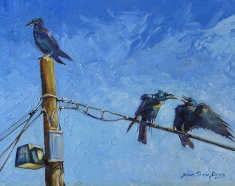 oil painting giclee bird Print of ravens crows funny fine art impressionism  7 x 10