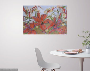 Large hummingbird lily abstract original oil painting, wall decor, home decor, hummingbird art, flower canvas painting, garden art, abstract