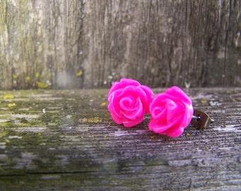 Hot Pink Rose Post Earrings