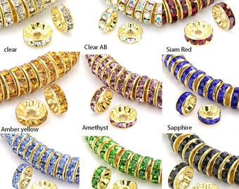 Hot New 710pcs Flat Round Crystal 8mm Faceted Crystal Spacer Charm Beads Half Purple Plated Color Fit Jewelry DIY Making