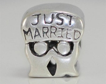Sterling Silver Charm Husband /& Wife Oneness Charm Just Married Charm Bead Fit All Charm Bracelets Women Girls Birthday Gifts #EC376
