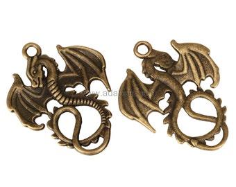 5 x Dragon Charms  30x22mm Antique Bronze Tone#MCZ199