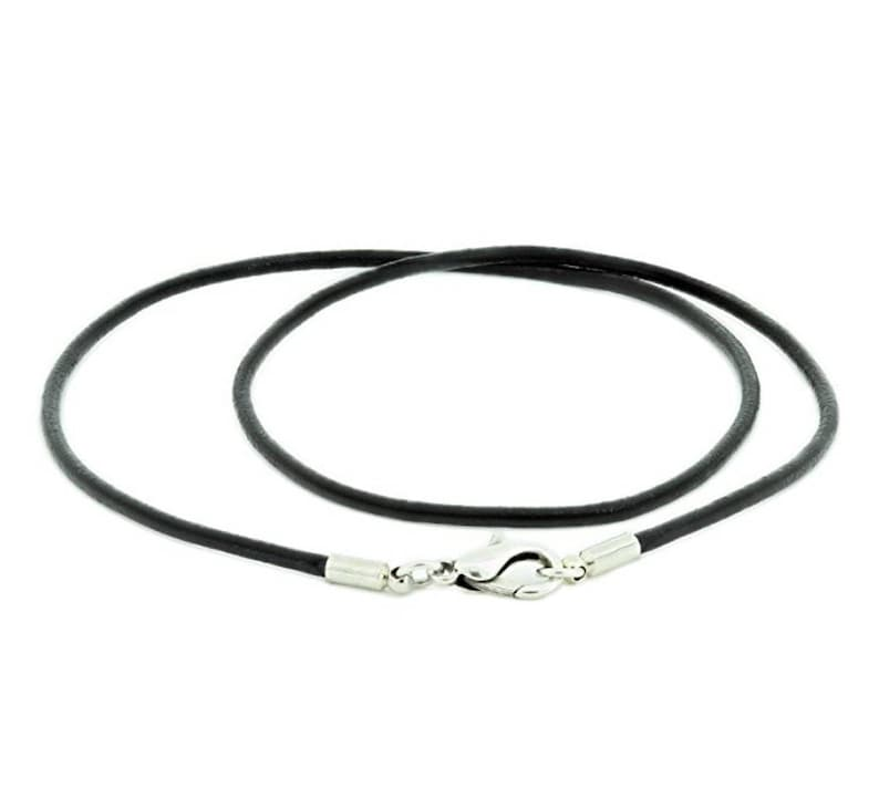 1pc x 20 Black Leather 2mm Necklace with Sterling Silver Lobster Clasp #SS220