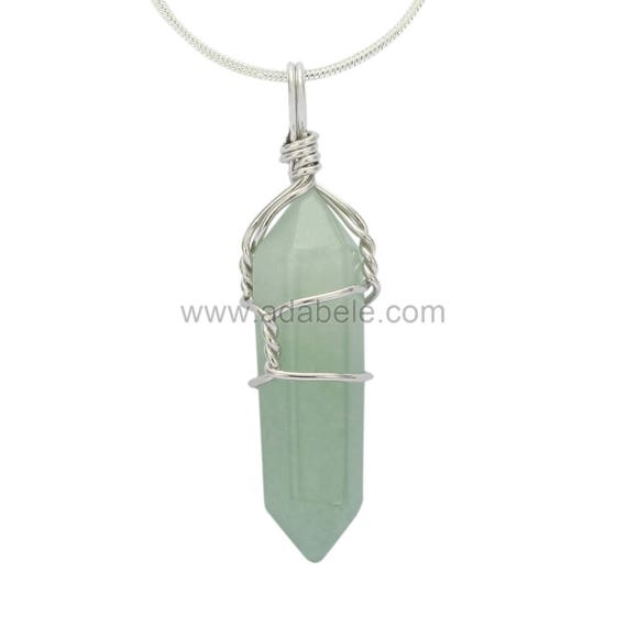 in Gift Bag #GGP-E8 Top Quality Natural Green Aventurine Healing Point Reiki Chakra Cut 18-20 Inch Gemstone Pendant Necklace 1pc