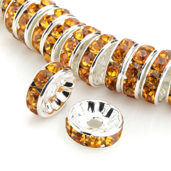Bulk 50pcs Czech Crystal Rhinestone Silver Plated Rondelle Spacer Beads 10mm