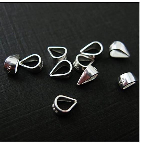 9 X 5 MM 1 SMALL STERLING SILVER SIMPLE LINED PENDANT PINCH BAIL HOLDER