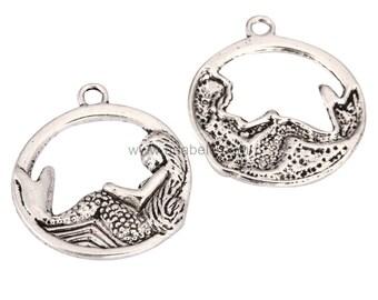10pcs Mermaid Charms  23mm Antique Silver Tone  #mcz1208