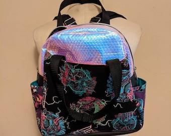 Baddies villain mini backpack, iridescent vegan leather.