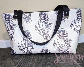 Pastel Goth Tote Bag, Floral skeleton travel bag
