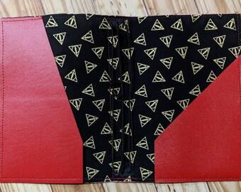 Hallows symbol Vegan B6 travelers notebook, red lion wizard house, fauxdori, notebook case