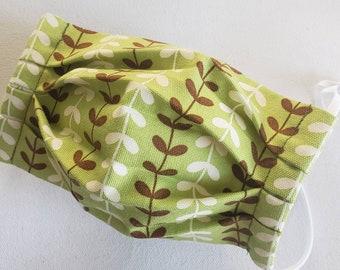 Face mask, Etiquette mask, ecofriendly, washable, reusable, breathable, allegies - green brown stems