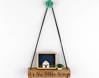 miniature shelf, quote shelf, little oak shelf, hanging shelf, wooden shelf, button shelf, flower shelf, wall decor, home accent, wood shelf