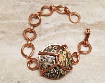 Leopard jasper chain bracelet