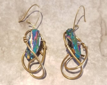 Rainbow Hematite galaxy earrings