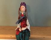 Poupée d'art,poupée unique,turquoise,rouge,bleu,vert,fleur,poupée d'artiste,poupée décorative,poupée artistique