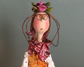 ooak art doll,art doll ooak,poupée d'art,figurine,marionnette,puppet,balançoire,loulouche,swing,flowers,poupée unique,eye glasses,lunette,re