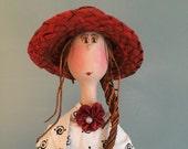 Poupée décorative,poupée d'art,chapeau de paille,jaune,rouge,pois noir,turquoise,balançoire,poupée d'art