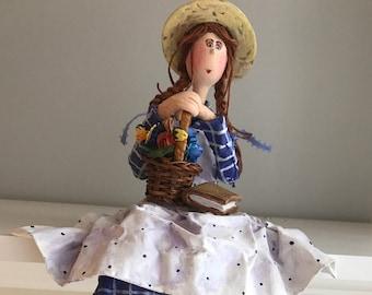 Anne of green gables,prince edward island,straw basket,books,straw hat,art doll,decorative doll,