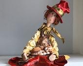 poupée d'art,poupée unique,chapeau haut de forme,marionnette,poupée décorative.poupée artistique ,poupée fait main,figurine