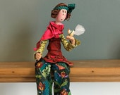 poupée d'art,oiseaux,oiseau blanc,poupée hippie,poupée artistique,poupée fait main,poupée décorative,rouquine,poupée colorée,poupée unique
