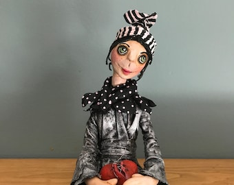 ooak art doll,artistic doll ,trash doll,ugly doll,decorative doll, heart repairer,broken heart,silver,gold, black and white
