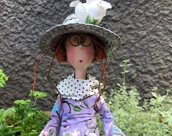 ooak art doll,decorative doll,art doll,artistic doll,straw hat,summer girl,white flower,cat,yellow cat,white flower,muppet,unique doll
