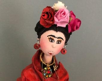 frida Kahlo,artist,art doll,parrot,frida,Mexico,female artist,flowers,painting,art,decorative doll,artistic doll