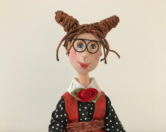 ooak art doll,decorative doll,artistic doll,puppet,art doll, handmade doll,round glasses,lady in red,daisies,bouquet,figurine