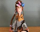 Violoniste,violon,papillon,tresse,fleur,poupéed'art,poupée décorative,poupée artistique,