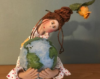 ooak art doll,earth lover,planet,tulip,decorative art doll,artistic doll,hand made doll,flowers,red hair,puppet,art doll