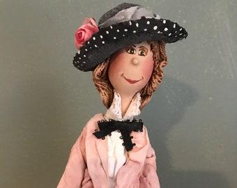 ooak art doll,decorative art doll,artistic art doll,fashion turn of century,1900,pink,historical hat,elegant doll,balck hat,