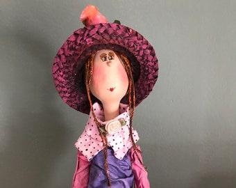 ooak art doll,decorative doll, artistic doll,straw hat,flowers,puppet,art doll,