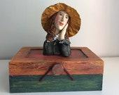 Boîtier décoratif, boîte de bois,Amadéo Modigliani,Modigliani,boîte fait main,boîte à bijoux,boîte à trésor,