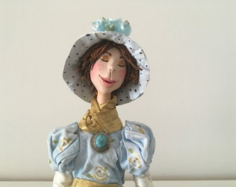 ooak art doll, decorative doll,calm,serene,lady in blue,hat,flowers,blue flowers,artistic doll,hand made doll