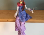 Poupée d'art,bleu,lilas,rose,tresse,oiseau,poupée artistique,poupée d'artiste,poupée décorative,poupée,poupée fait main