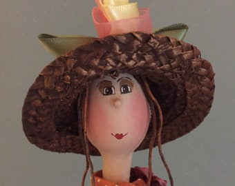 ooak Art doll,mobile art doll,mobile art doll,artistic art doll,decorative art doll,art doll on a swing,puppet,fairy,straw hat doll,