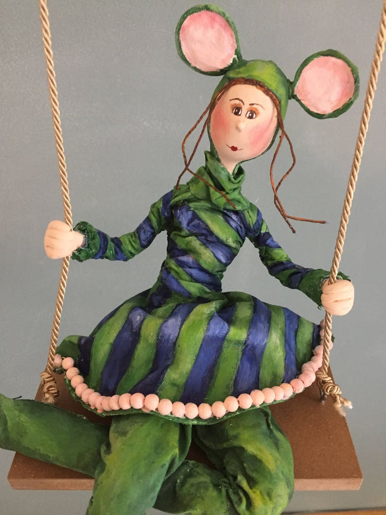 ooak art dollart doll green mousela souris verteart doll image 0