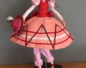 Fanfreluche,poupée d'art,balançoire,rose,rouge,boucle rouge,mobile,poupée artistique,poupée décorative,années 70,émission pour enfant,lulu