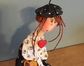 ooak art doll-french beret,aristic doll,decorative art doll,art doll,art doll sitting,original art doll,doll,puppet,fairy