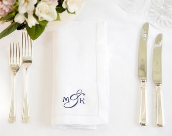 Classic Monogram Napkin - Linen Napkins - Personalised Napkins - Monogram Wedding Idea - Monogram Wedding Napkins, Christmas Napkins