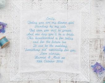 Flowergirl Handkerchief - Flowergirl Gift Idea - Personalised Handkerchief - Flowergirl Hanky - Linen & Lace Handkerchief - In Gift Box