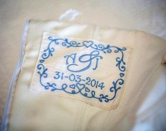 Personalised Wedding Dress Label - Something Blue Idea - Monogram Dress Label - Monogram Wedding Idea
