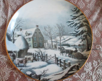 Currier and Ives Winter Morning plate, 2000 Collectible Plate, ConAgra Collection