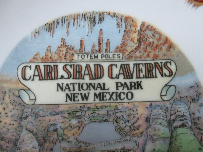 American National Parks 5 inch plate Staycation Souvenirs Atomic Style New Mexico Carlsbad Caverns Souvenir Plate