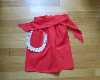 Vintage Red Cotton Apron, Half Apron, Lace trim pocket, Polyester Cotton Blend