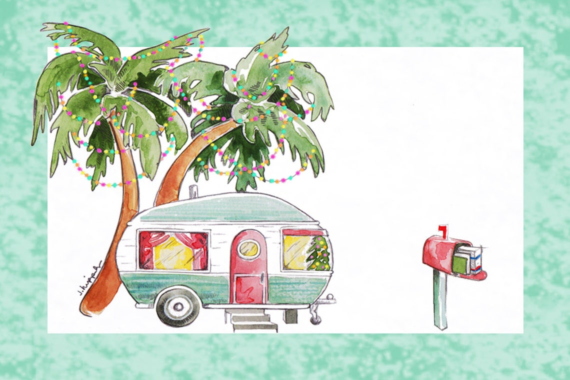 Retro Trailer & Palm Trees Holiday Postcards From Your Letter Carrier