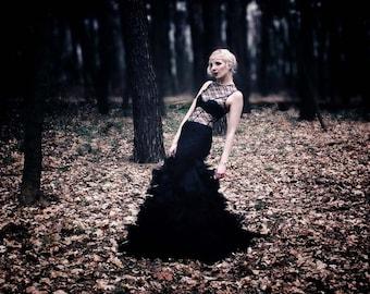 Leni _ lace dress with tulle skirt, wedding, evening dress, Gothic