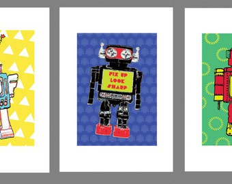 Colourful Vibrant Trio of THE ROBOTS 60s Retro Style Three Prints Wall Art A4