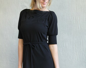 Folded Dress, Cotton Jersey, Puff Sleeve Dress, Classic Style, Belted Dress - made to order