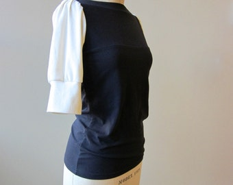 Jersey Top Black and Colored puff sleeves, modern chic- made to order